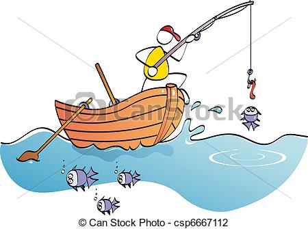 Vector Illustration Of Funny Fisherman   Man In His Boat Catching