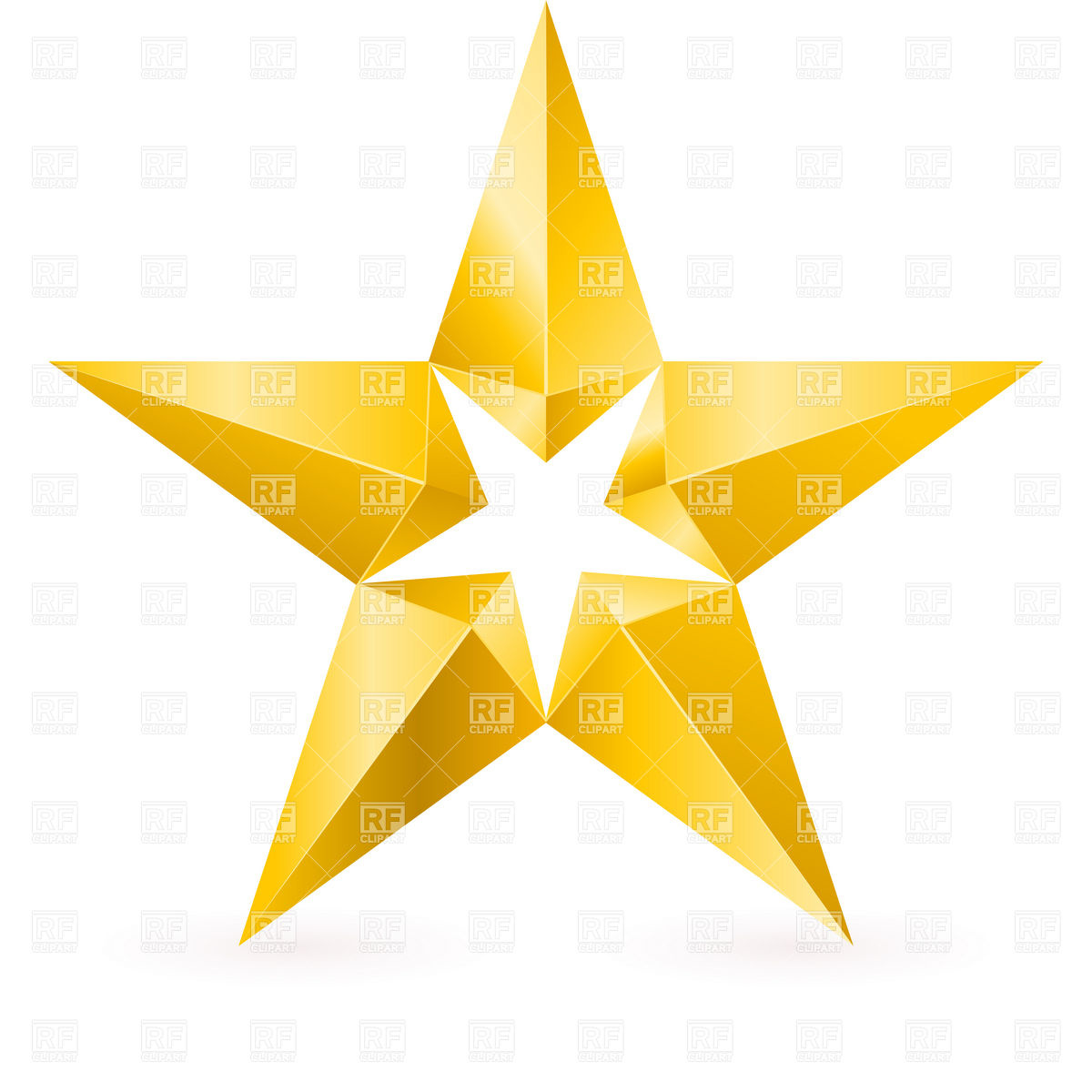 Yellow stars clip art shiny gold star with facets objects download