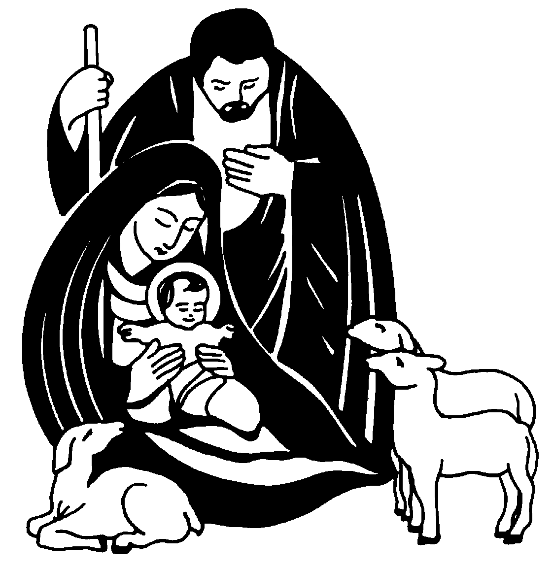 Black And White Christian Christmas Clip Art Jesus Christmas Clipart