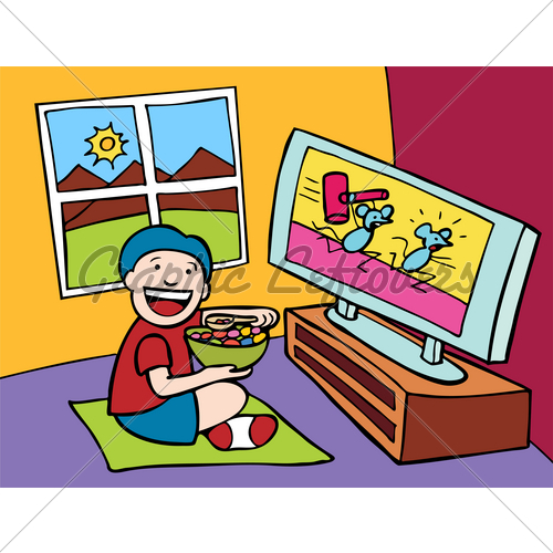 Cartoon Of Child Watching Television