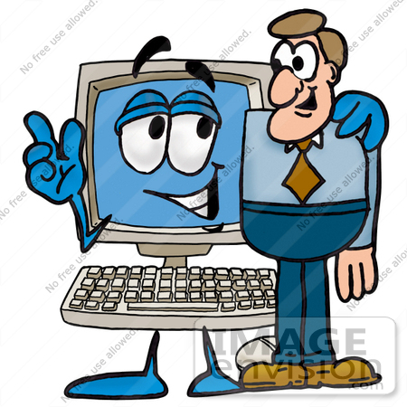 Clip Art Graphic Of A Desktop Computer Cartoon Character Talking To A
