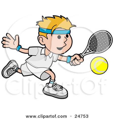 Clipart Illustration Of An Athletic Blond Man Running After A Tennis