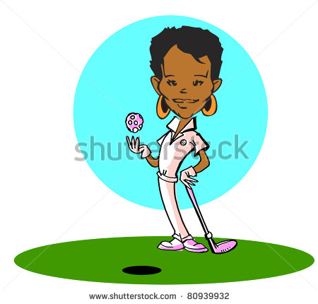 African American Golfer Woman Clipart Stock Photo 80939932