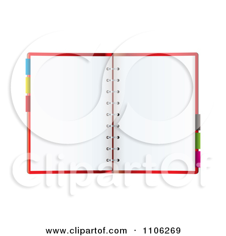 Clipart Open Organizer Or Planner Book With Colorful Tabs And Blank