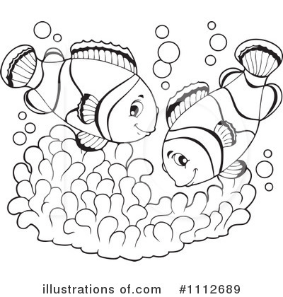 clown fish coloring page - clown fish black and white clipart clipart suggest