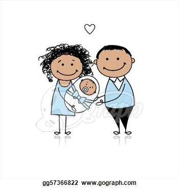Happy Parents With Newborn Baby  Vector Clipart Gg57366822   Gograph