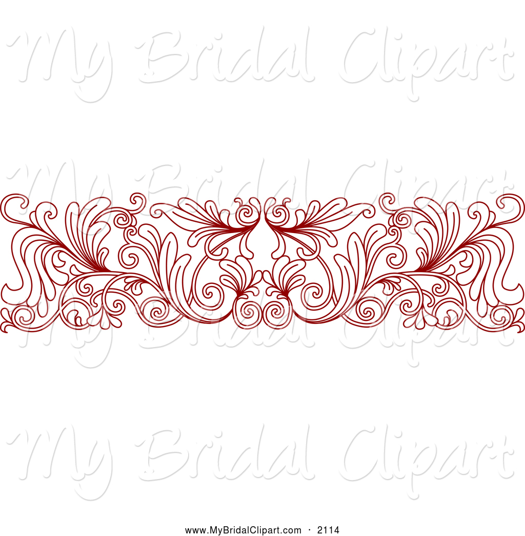 Larger Preview  Bridal Clipart Of A Red Ornate Floral Wedding Border