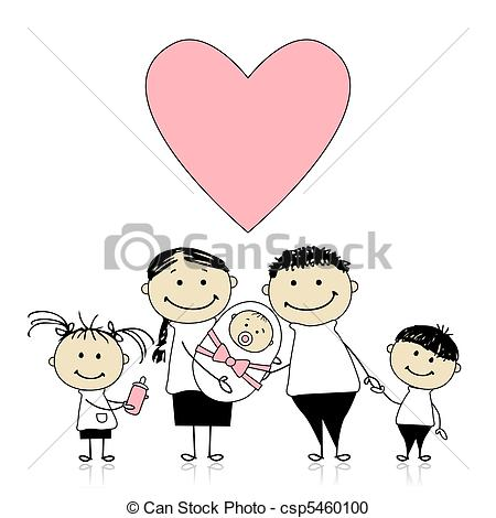 Vector Clipart Of Happy Parents With Children Newborn Baby In Hands