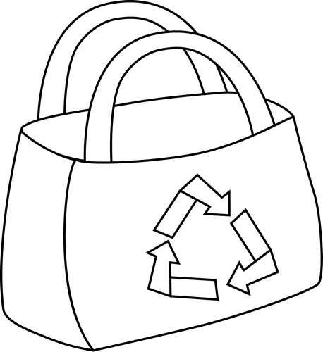 Black And White Eco Friendly Shopping Bag Clip Art   Black And White