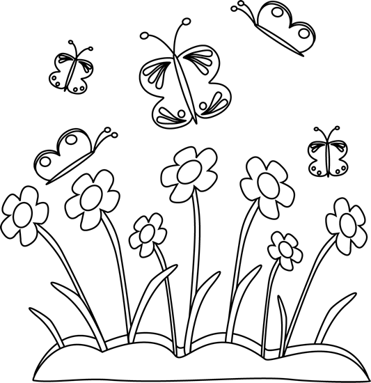 Black And White Spring Flowers And Butterflies Clip Art Black