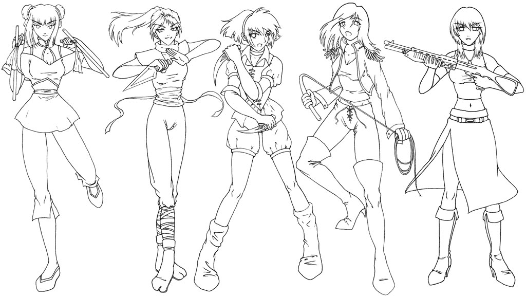 Manga Clip Art Female Warriors By Sonialeong On Deviantart