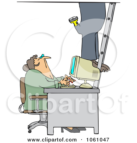 Royalty Free Vector Clip Art Illustration Of A Secretary Checking Out