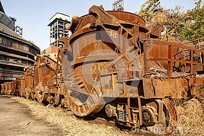 Rusty Train At Abandoned Steel Mill Stock Photography   Image