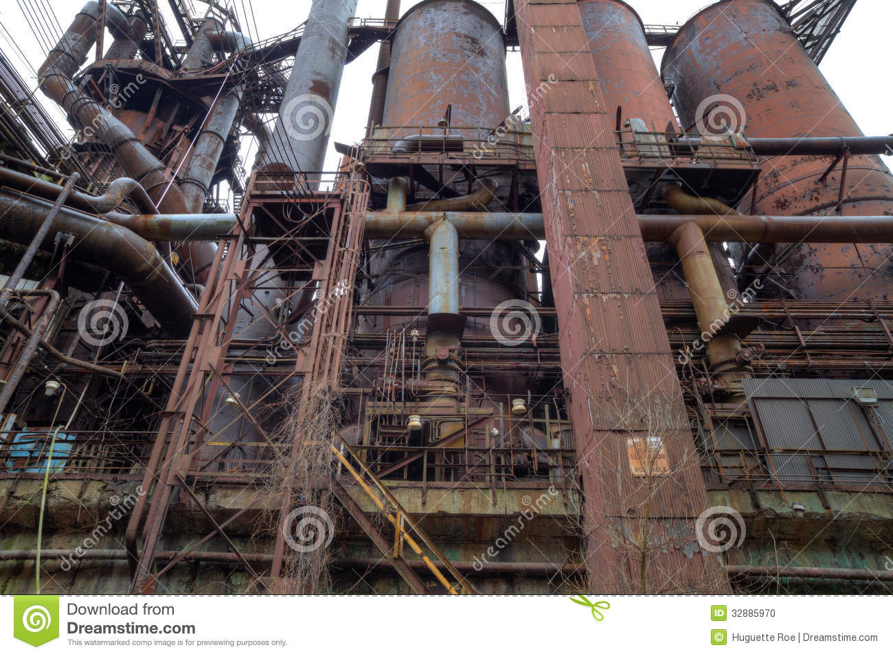 Steel Mill Outside Stock Photo   Image  32885970