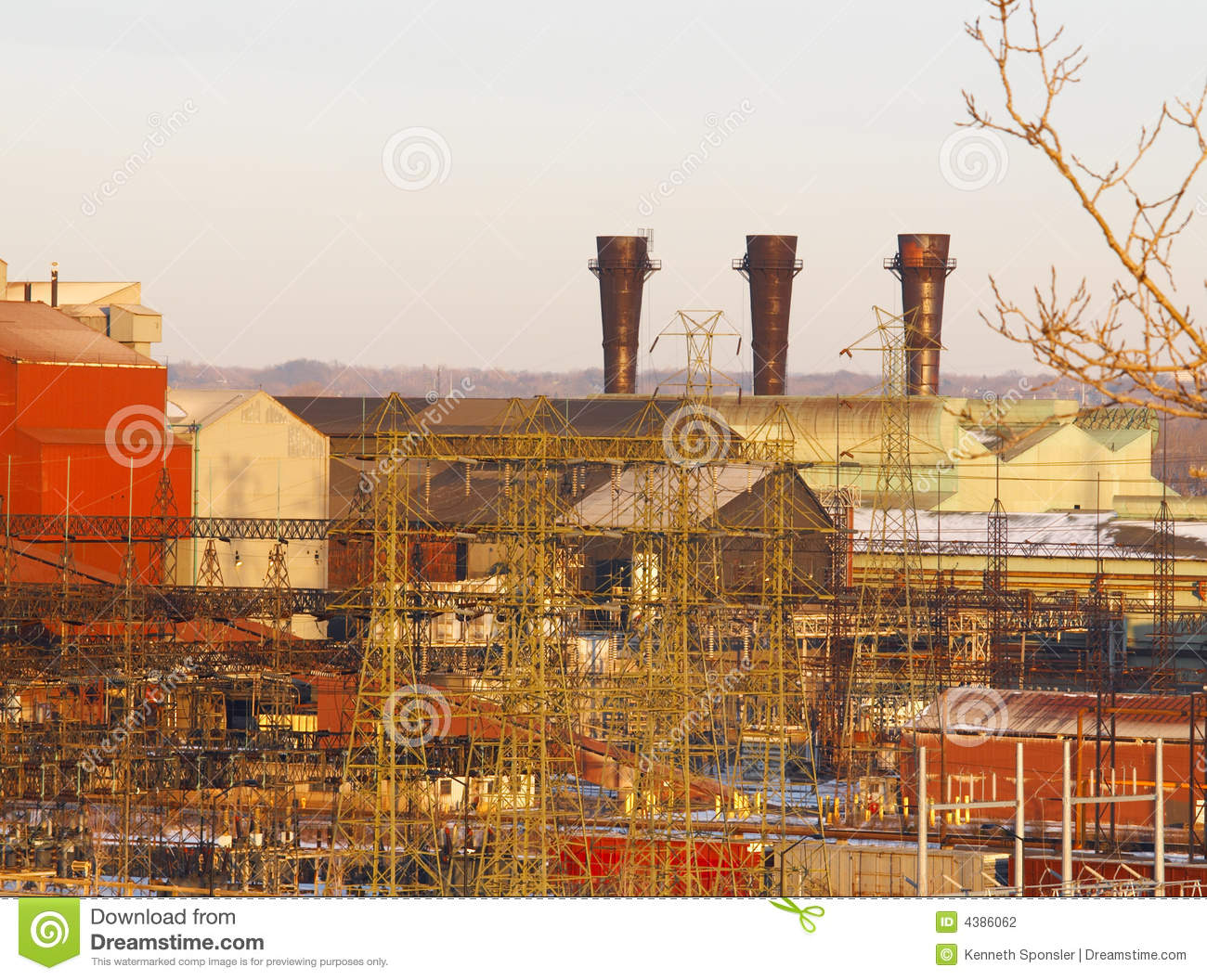 Steel Mill With Three Stacks Stock Photography   Image  4386062