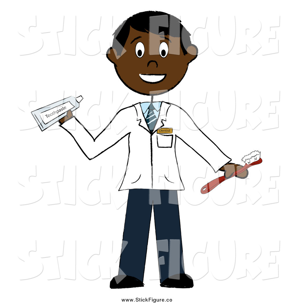 Stick Male Dentist Holding A Toothbrush And Toothpaste By Pams Clipart