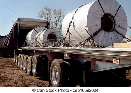 Stock Photography Of Steel Coils Trucking   Steel Haulers In Steelmill
