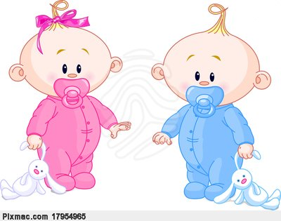 Twin Baby Boy And Girl With Pacifiers And Toys Stock Photo