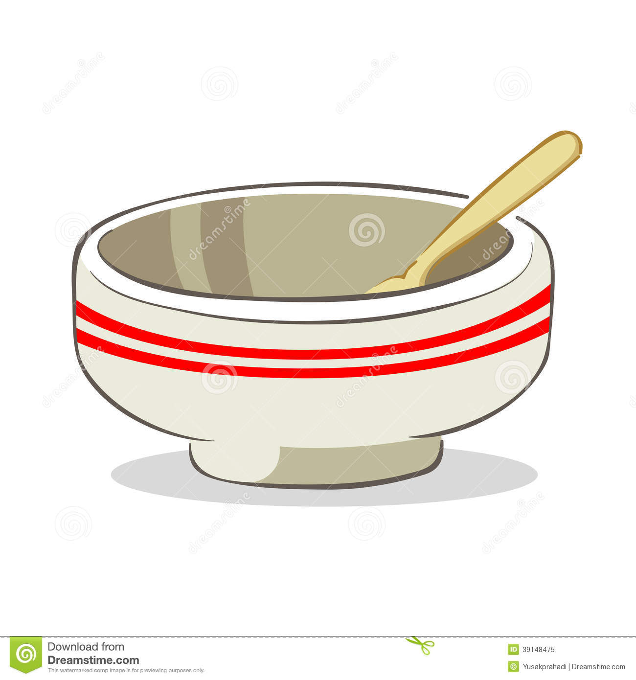 Vector Illustration Of An Empty Bowl With Spoon