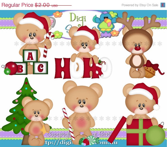 30  Off Christmas Bears Clip Art Set   Clipart Scrapbooking Set