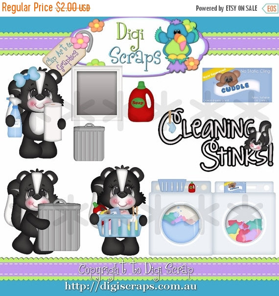 30  Off Cleaning Stinks 2 Clip Art Set   Clipart Scrapbooking Set