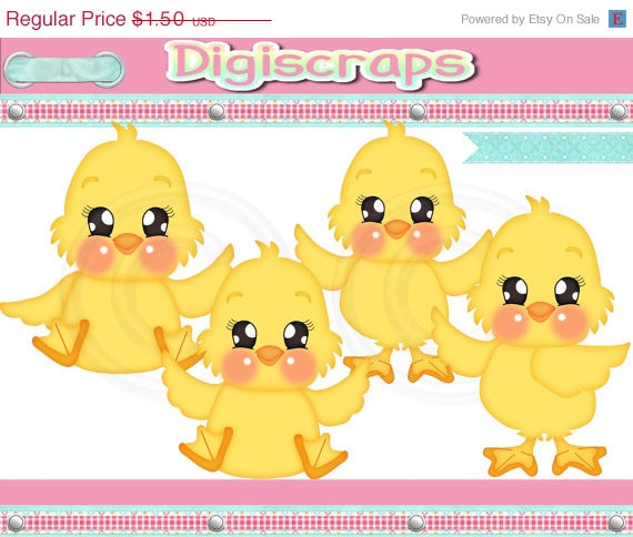 30  Off Cute Lil Chicks Clip Art Set   Clipart Scrapbooking Set