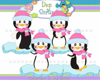 30  Off Cute Little Penguin Girls C Lip Art Set   Clipart Scrapbooking