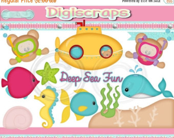 30   Off Deep Sea Fun Digital Clip Art Set Clipart Scrapbooking Set