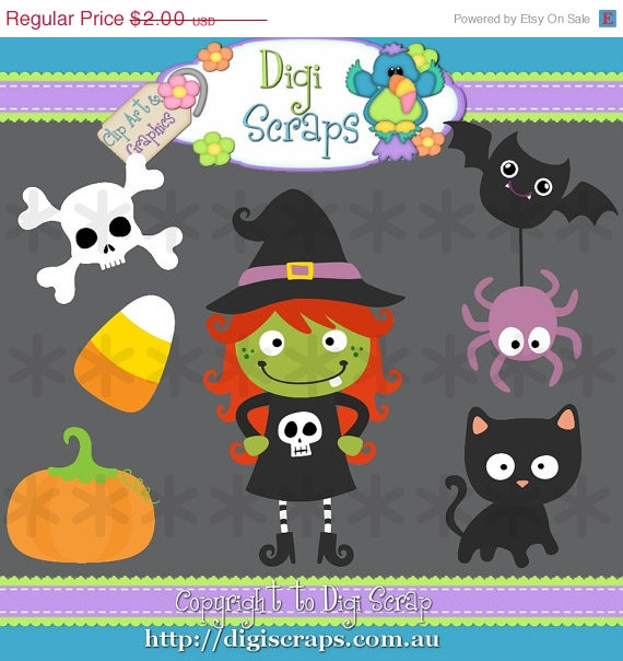 30  Off Miss Halloween Clip Art Set   Clipart Scrapbooking Set