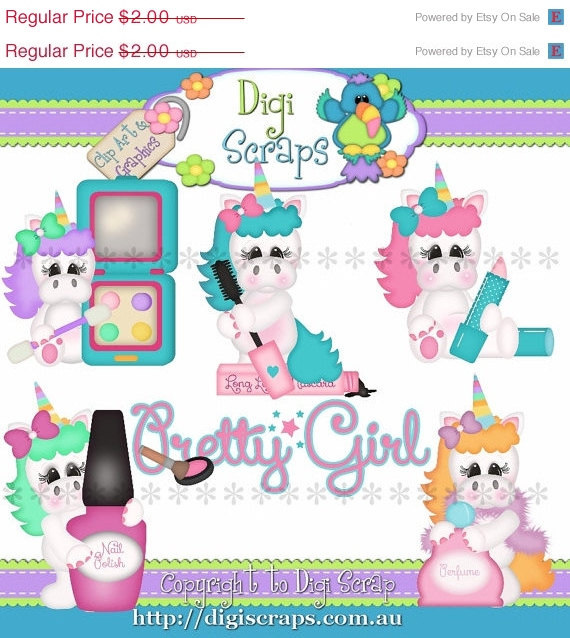 30  Off Pretty Unicorn Girls Clip Art Set   Clipart Scrapbooking Set