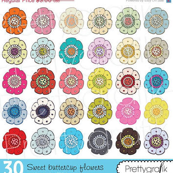 30  Off Sale 30 Flower Clipart Commercial Use Vector Graphics