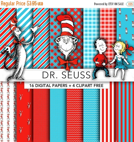 30  Off Sale Dr Seuss Digital Paperdr Seuss Clipartscrapbook