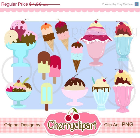 30  Off Sale Ice Cream Sundae Digital Clipart Set Personal And
