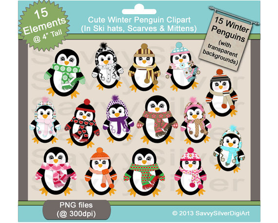 30  Off Sale  Printable Penguin Clipart   Instant Download Digital