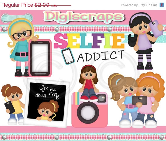 30  Off Selfie Photo Addict Clip Art Set   Clipart Scrapbooking Set