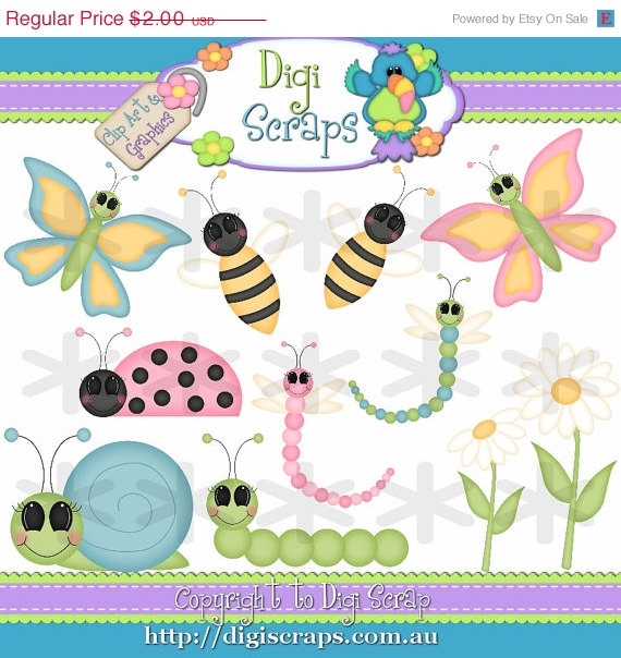 30  Off Spring Garden Bugs Clip Art Set   Clipart Scrapbooking Set