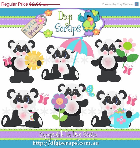30  Off Spring Pandas Clip Art Set   Clipart Scrapbooking Set