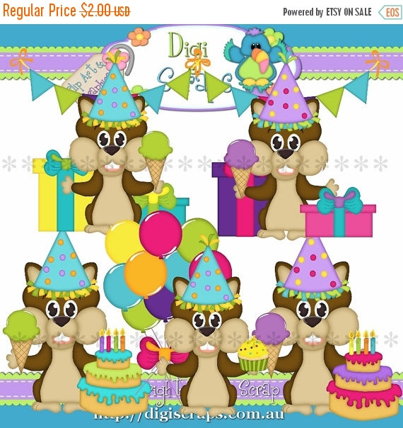 30  Off Squirrel Birthday Party Clip Art Set   Clipart Scrapbooking