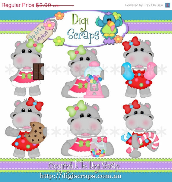30  Off Sweet Hippo Clip Art Set   Clipart Scrapbooking Set