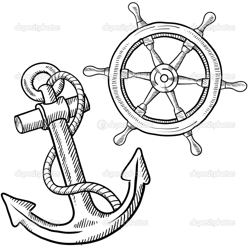 Anchor And Ship S Wheel Sketch   Stock Vector   Lhfgraphics
