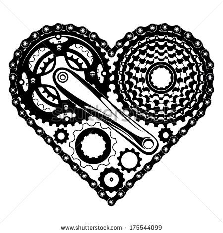 Bike Crank Drawing Bicycle Parts Combined In A