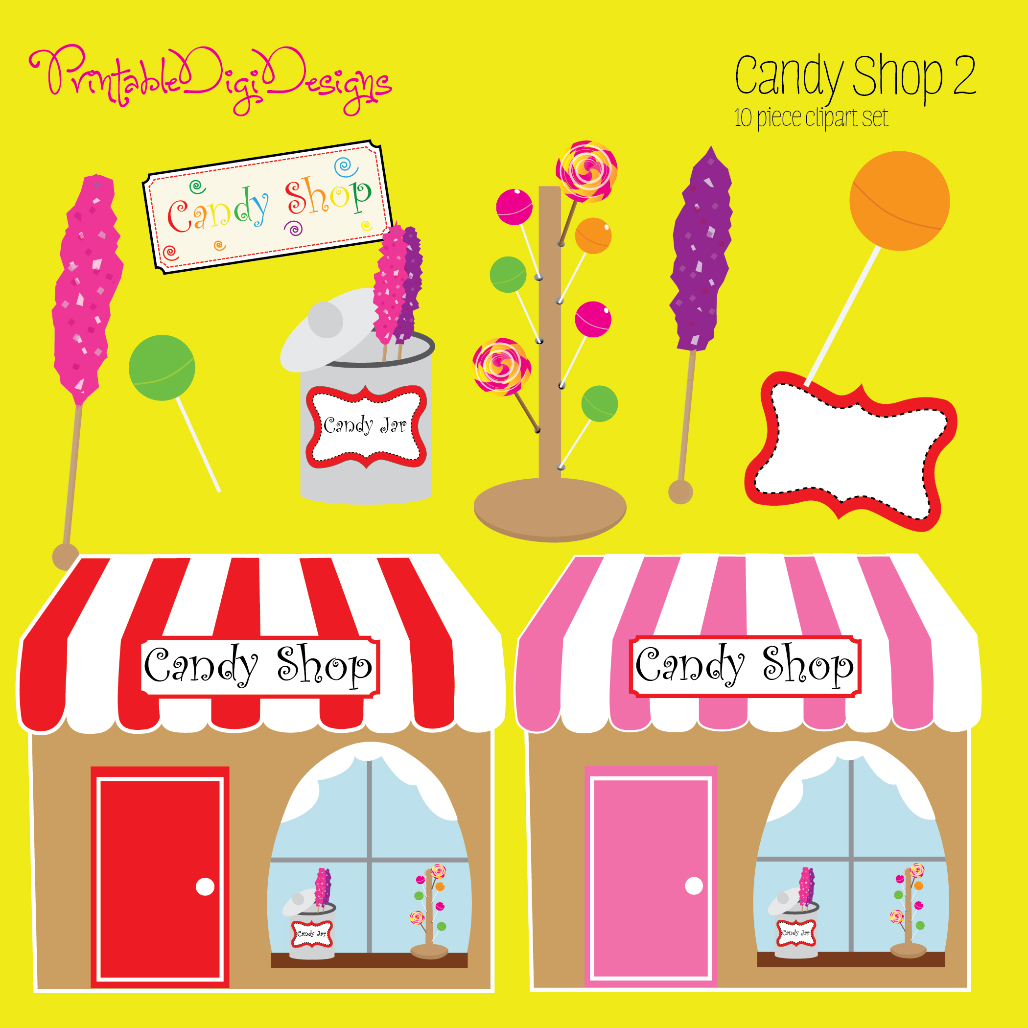 Candy Shop 2 Clipart Graphic Set   3 50 Sweet Candy Shop 2 Clipart