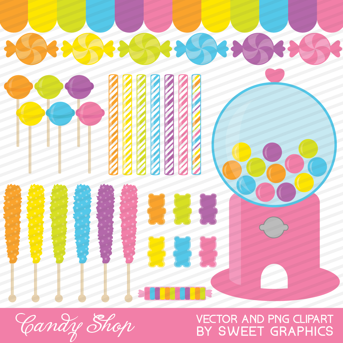 Candy Shop Clipart Set   Png And Vector Files   Commercial Use
