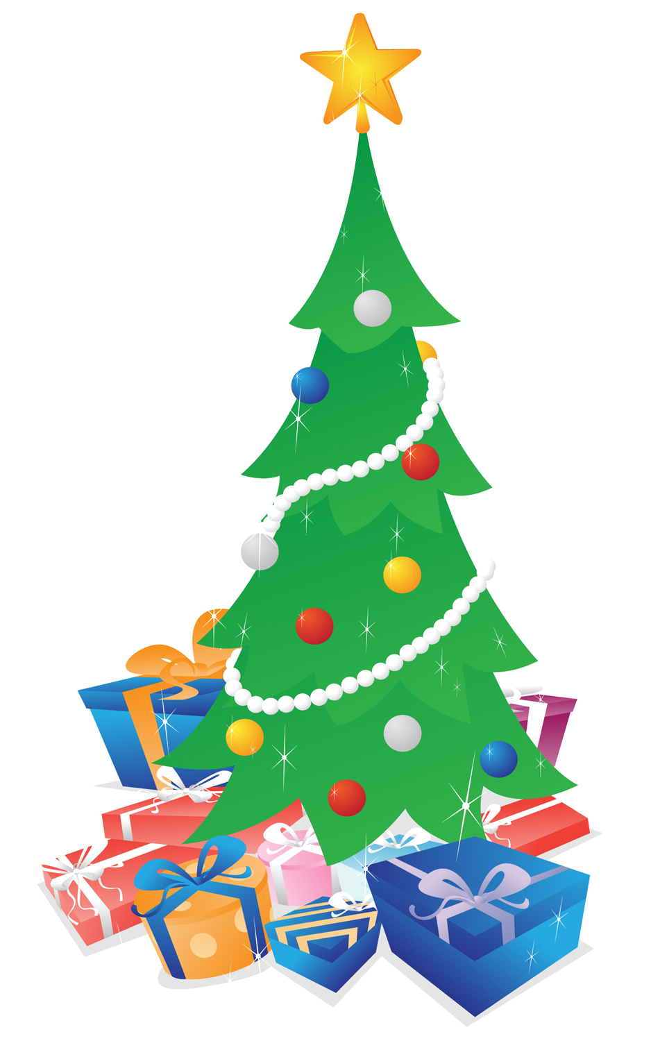 Christmas tree with presents clipart suggest