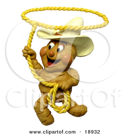 Clay Sculpture Clipart Ginger Root Cowboy Swinging A Lasso   Royalty