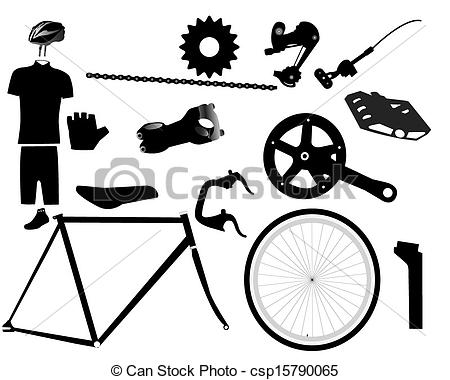 Clip Art Vector Of Parts For Bicycles   Bicycle Parts On A White