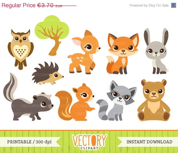 Clipart Sale 30  Off 10 Woodland Animal Clip Art Forest Animals