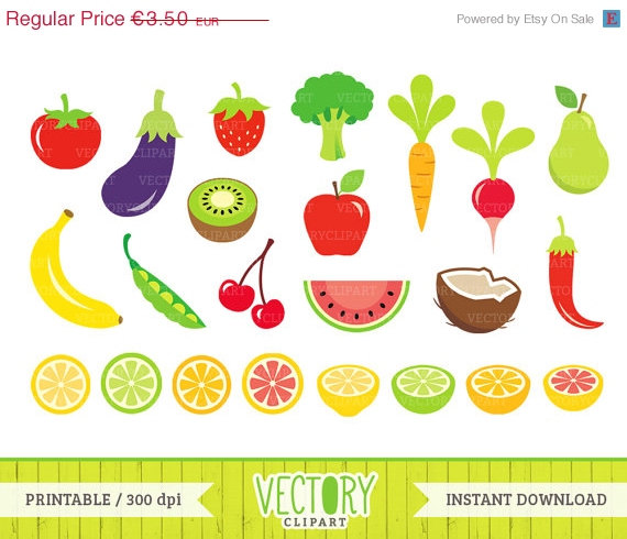 Clipart Sale 30  Off 23 Fruits And Vegetables Clip Art Healthy Food