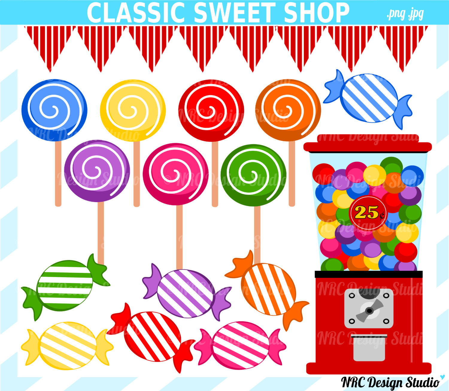 Final Sale Candyland Sweet Shop Clip Art Candy By Nrcdesignstudio