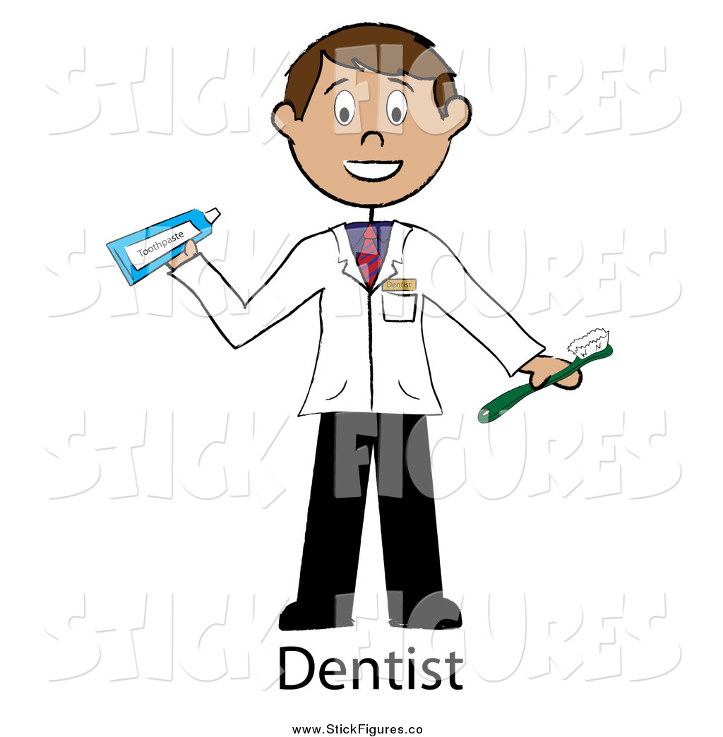 Male Stick Dentist Holding A Toothbrush And Toothpaste By Pams Clipart